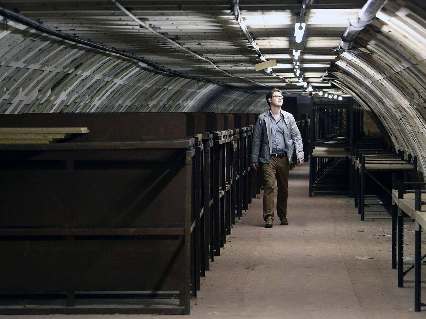 The Independent's Jamie Merrill examines the World War II bunk beds in a deep level WWII air raid shelter beneath Clapham Common Underground Station