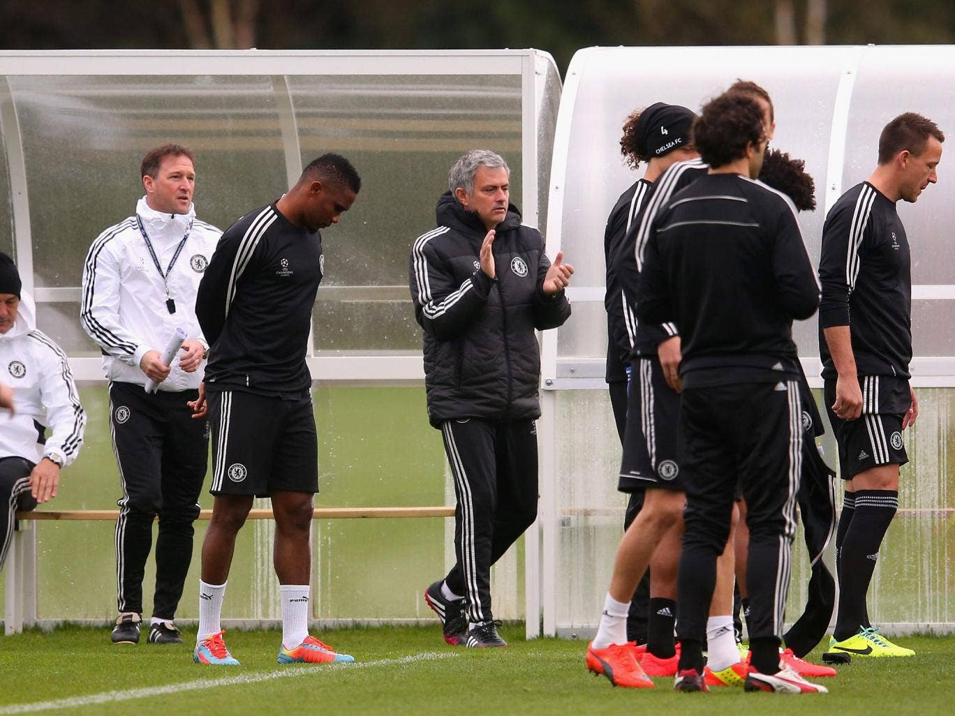 Jose Mourinho takes training with the Chelsea team ahead of their Champions League game against PSG