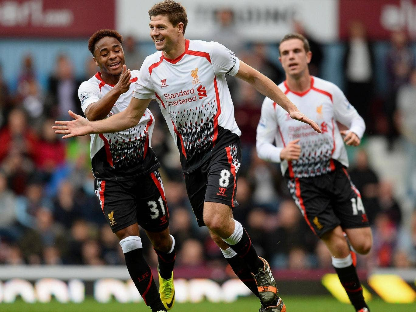 Steven Gerrard celebrates scoring for Liverpool in the victory over West Ham