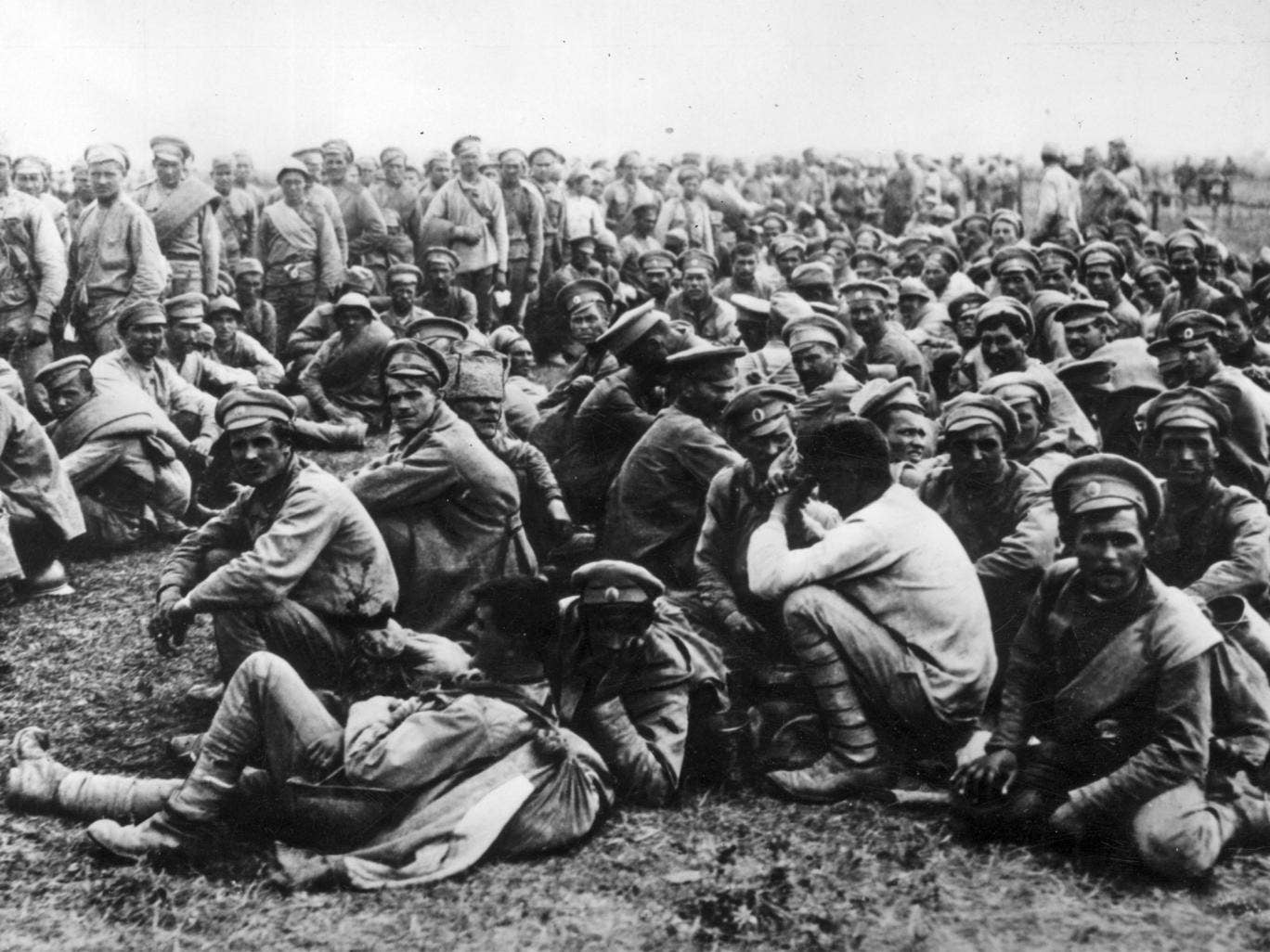 Captured soldiers of the Russian 2nd Army after their defeat at the Battle of Tannenberg