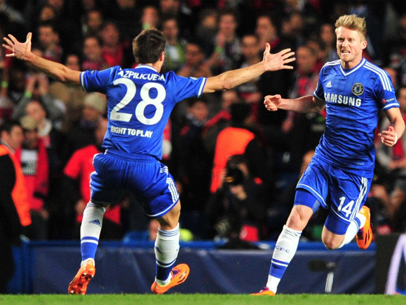 Andre Schurrle celebrates his goal