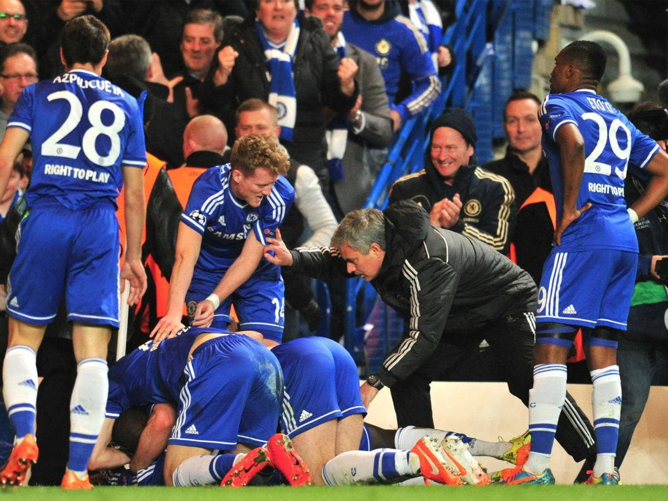 Jose Mourino joins in with the Chelsea celebrations
