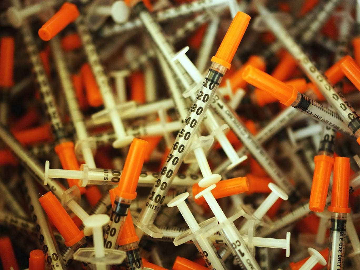 Discarded syringes at a needle exchange clinic