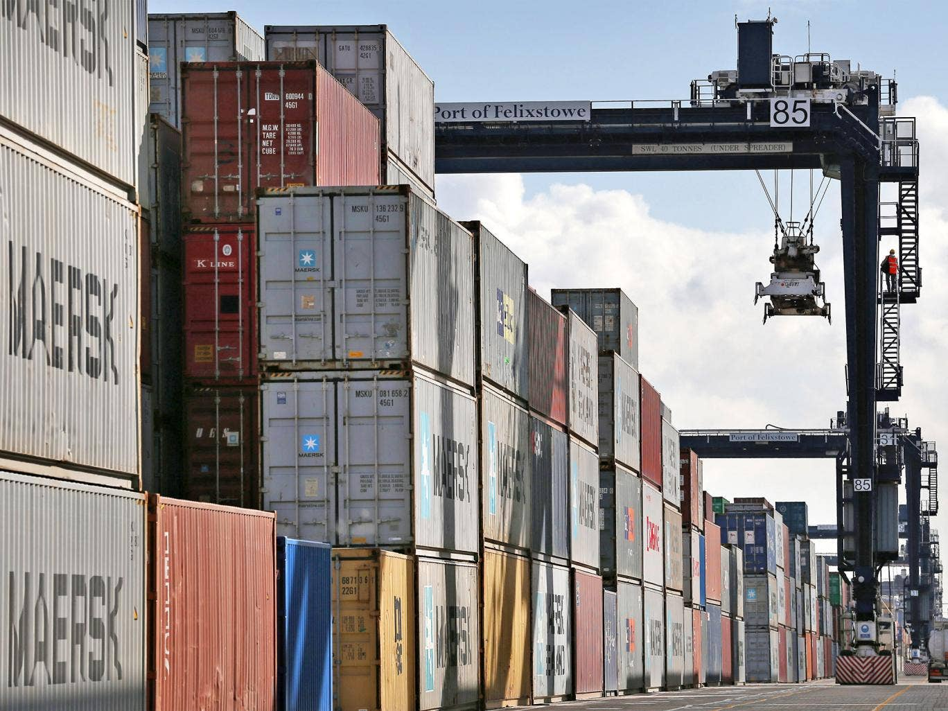 The Port of Felixstowe, in Suffolk, is the UK's busiest container port