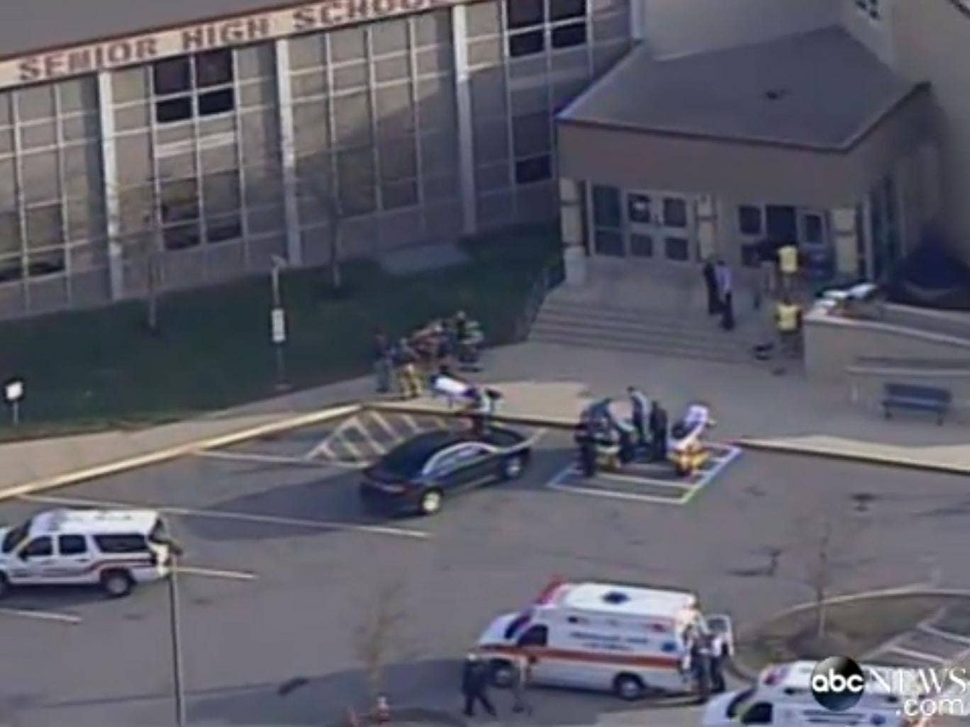 Police said 20 students were injured in the attack outside Franklin Regional High School in Murrysville, near Pittsburgh this morning