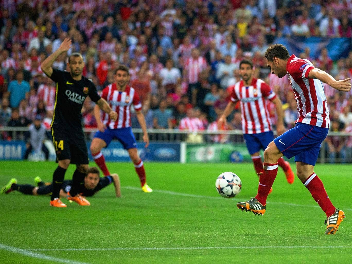 Koke arrives at the far post to give Atletico the lead