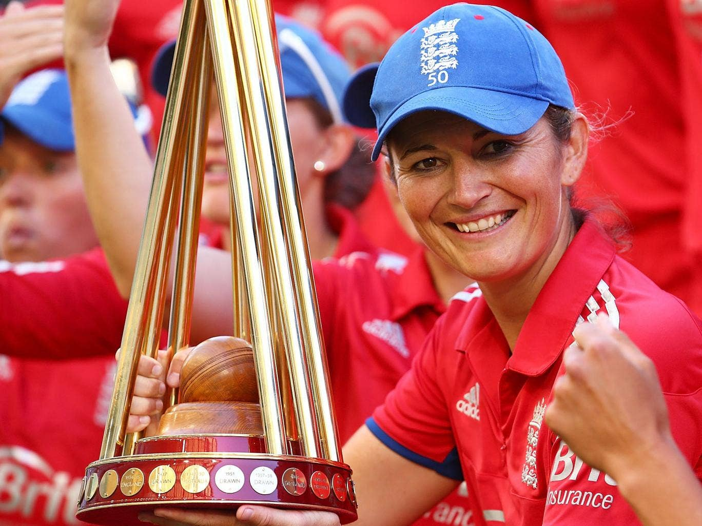 Charlotte Edwards with the Women's Ashes trophy in February