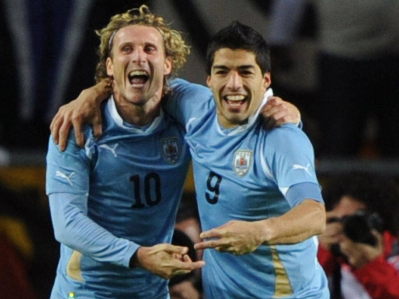 Diego Forlan and Luis Suarez on international duty for Uruguay
