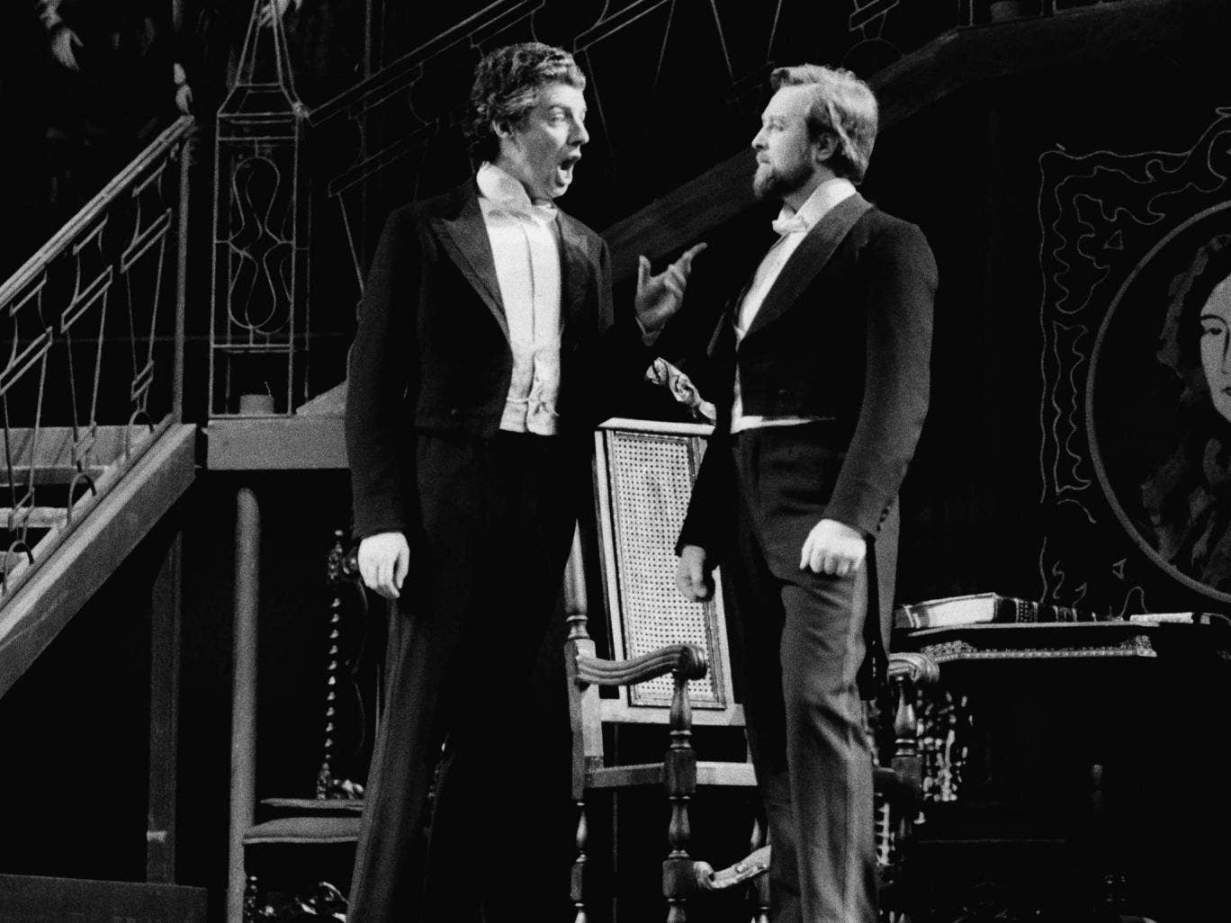 John Shirley-Quirk (left) with Benjamin Luxon in a rehearsal for the stage premiere of Benjamin Britten's opera 'Owen Wingrave' at the Royal Opera House in 1973