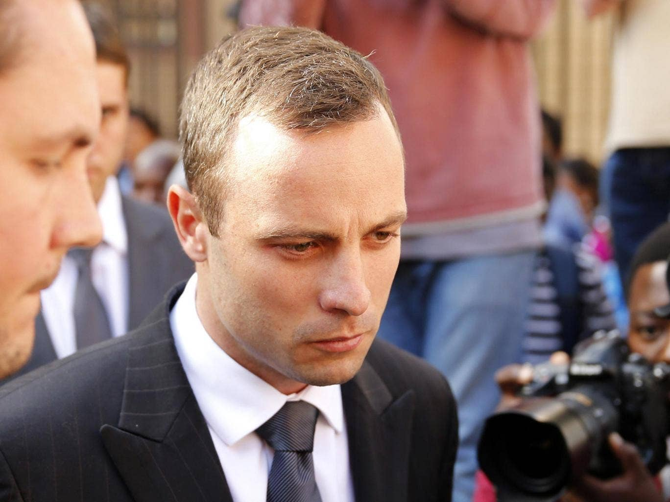 Oscar Pistorius at the end of his trial at the North Gauteng High Court in Pretoria