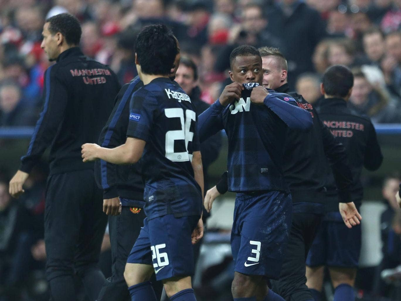 Manchester United's joy, after Patrice Evra's goal against Bayern Munich, was short-lived