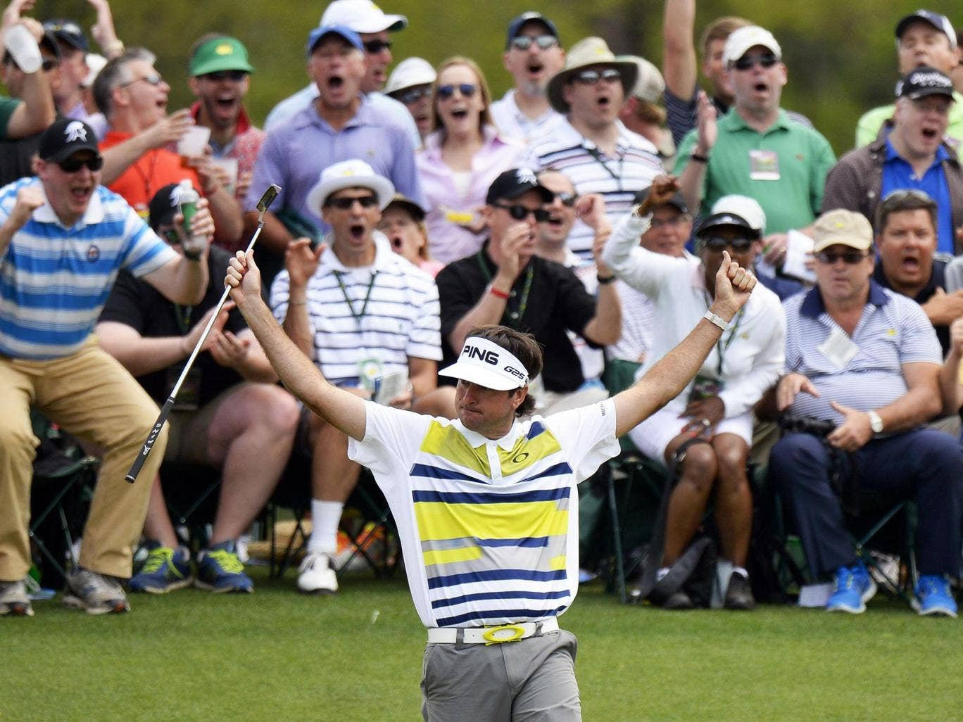 Bubba Watson celebrates after making a birdie on the 14th yesterday
