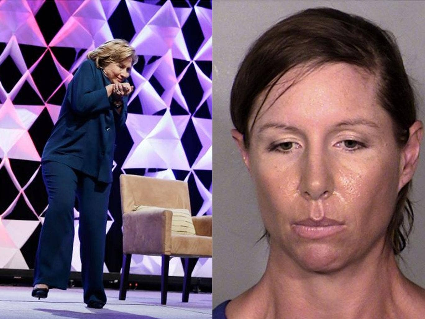 Former Secretary of State Hillary Clinton ducks after a woman threw an shoe toward her during a speech on Thursday. This image provided by the Las Vegas Metropolitan Police Department shows Alison Ernst, who was arrested April 10, 2014 in connection with