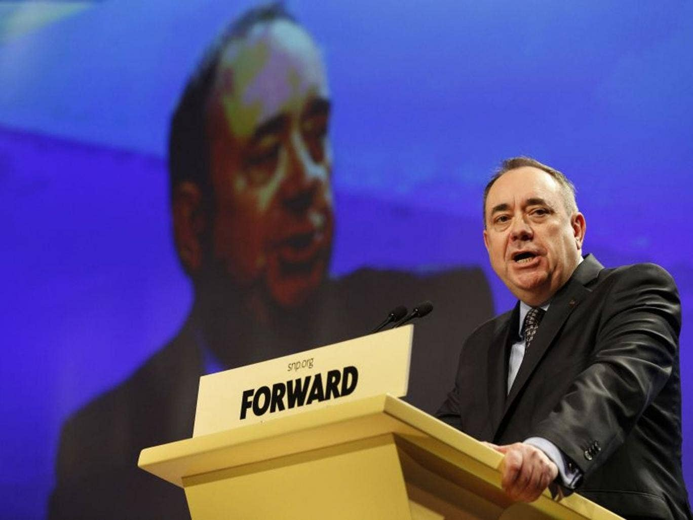 Scotland's First Minister Alex Salmond delivers his speech at the Scottish National Party (SNP) Spring Conference in Aberdeen, Scotland April 12, 2014.