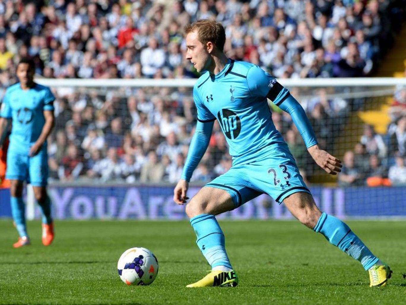 Christain Eriksen of Tottenham in action during the Premier League match between West Bromwich Albion and Tottenham Hotspur at The Hawthorns (Getty)