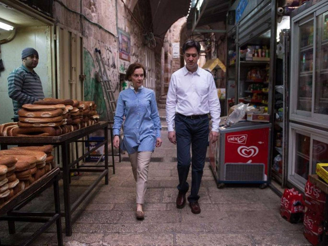 Ed Miliband and his wife in Jerusalem