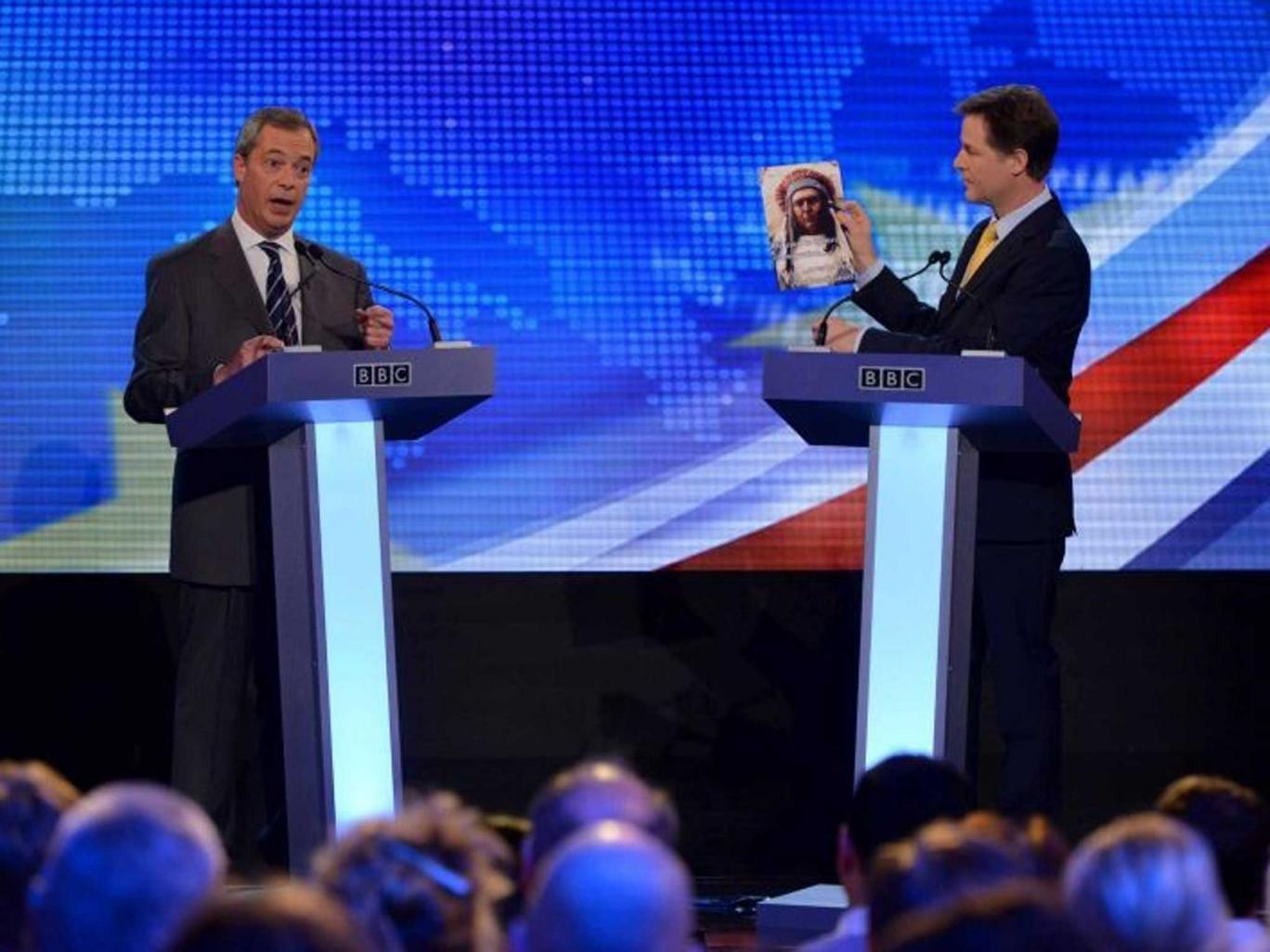Nigel Farage (left) benefited from the EU debate against Nick Clegg