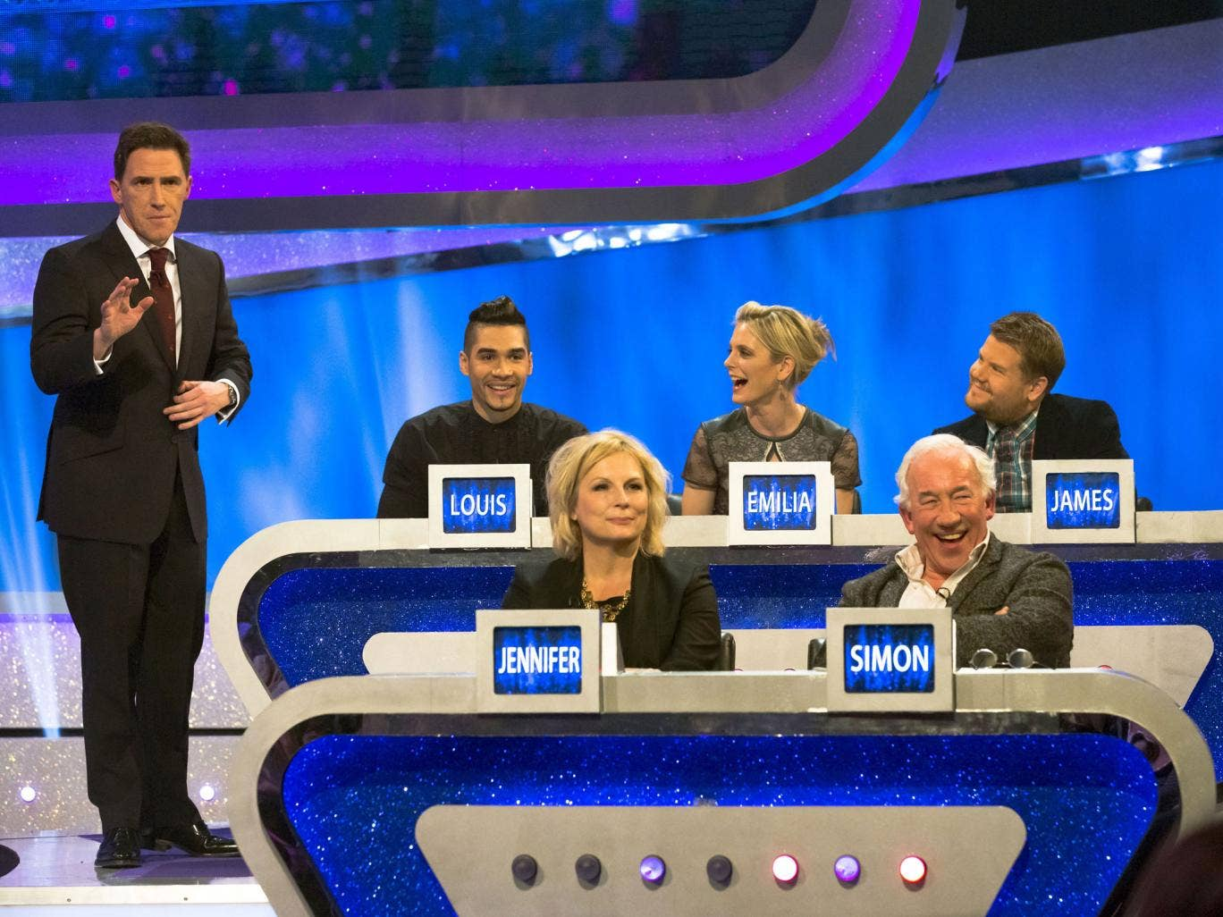 Prize fighters: Rob Brydon and celebrity guests on 'The Guess List'