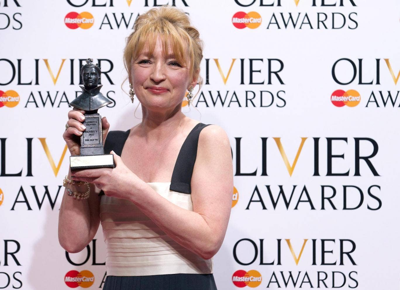 Lesley Manville with her Olivier for Best Actress for her role in 'Ghosts'