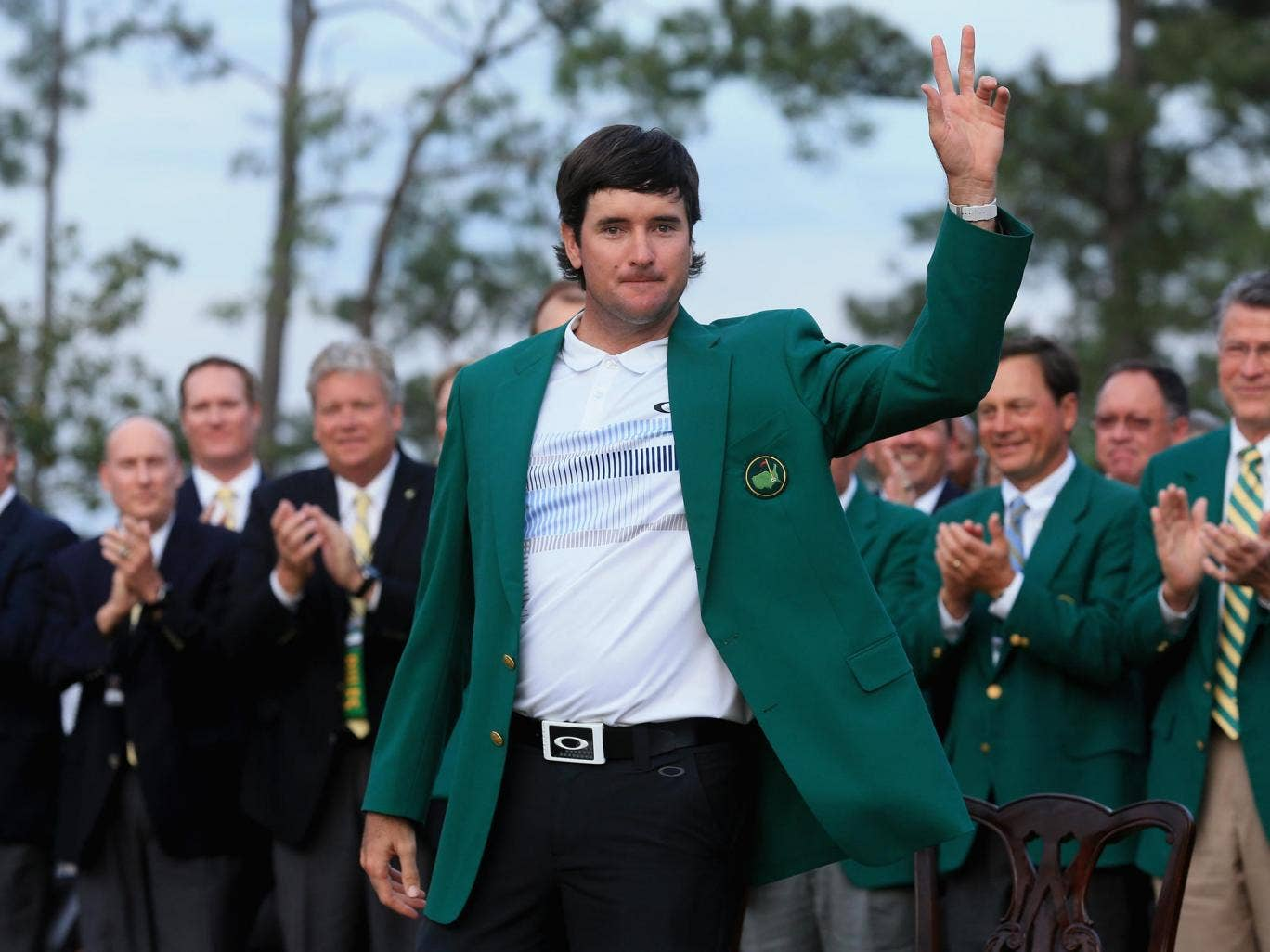 Bubba Watson soaks up the applause at the Augsta National course after his 2014 Masters success