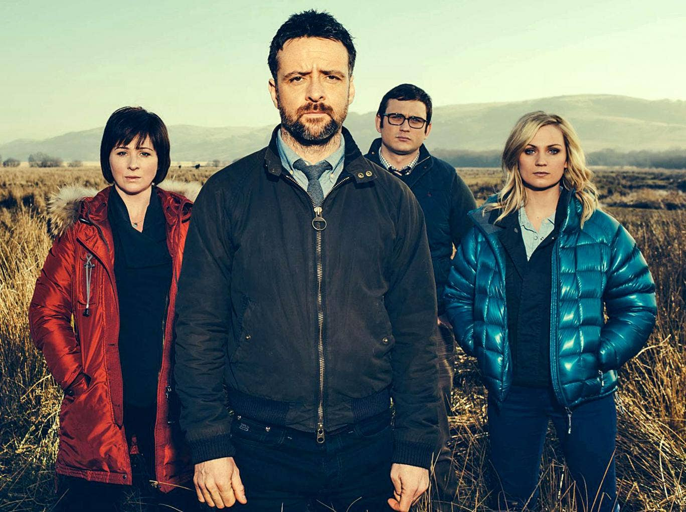 Made in Wales: Richard Harrington (centre) leads the cast of 'Hinterland'