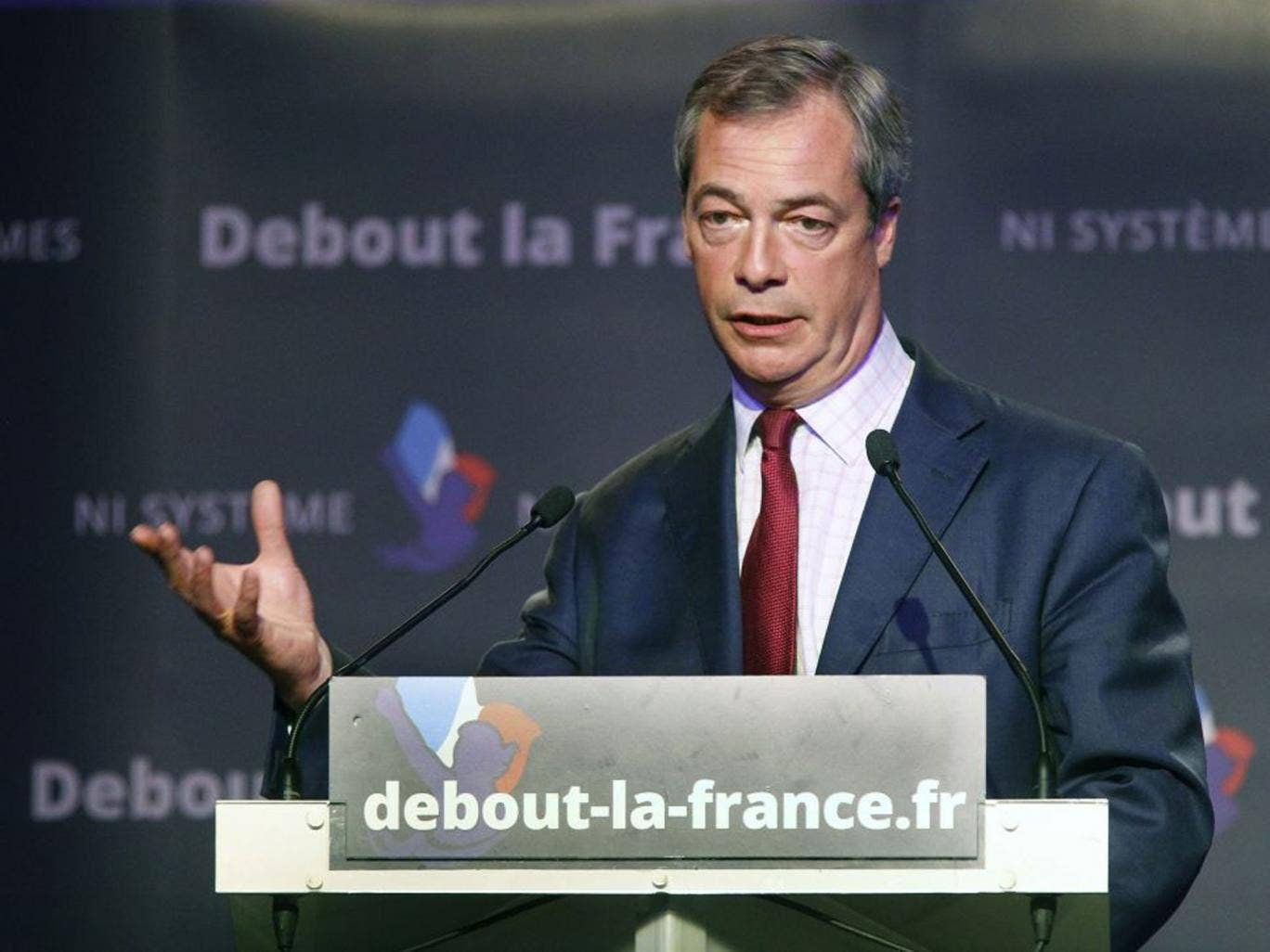 Nigel Farage delivering his speech during a political meeting with French conservative party Debout La Republique in Paris.