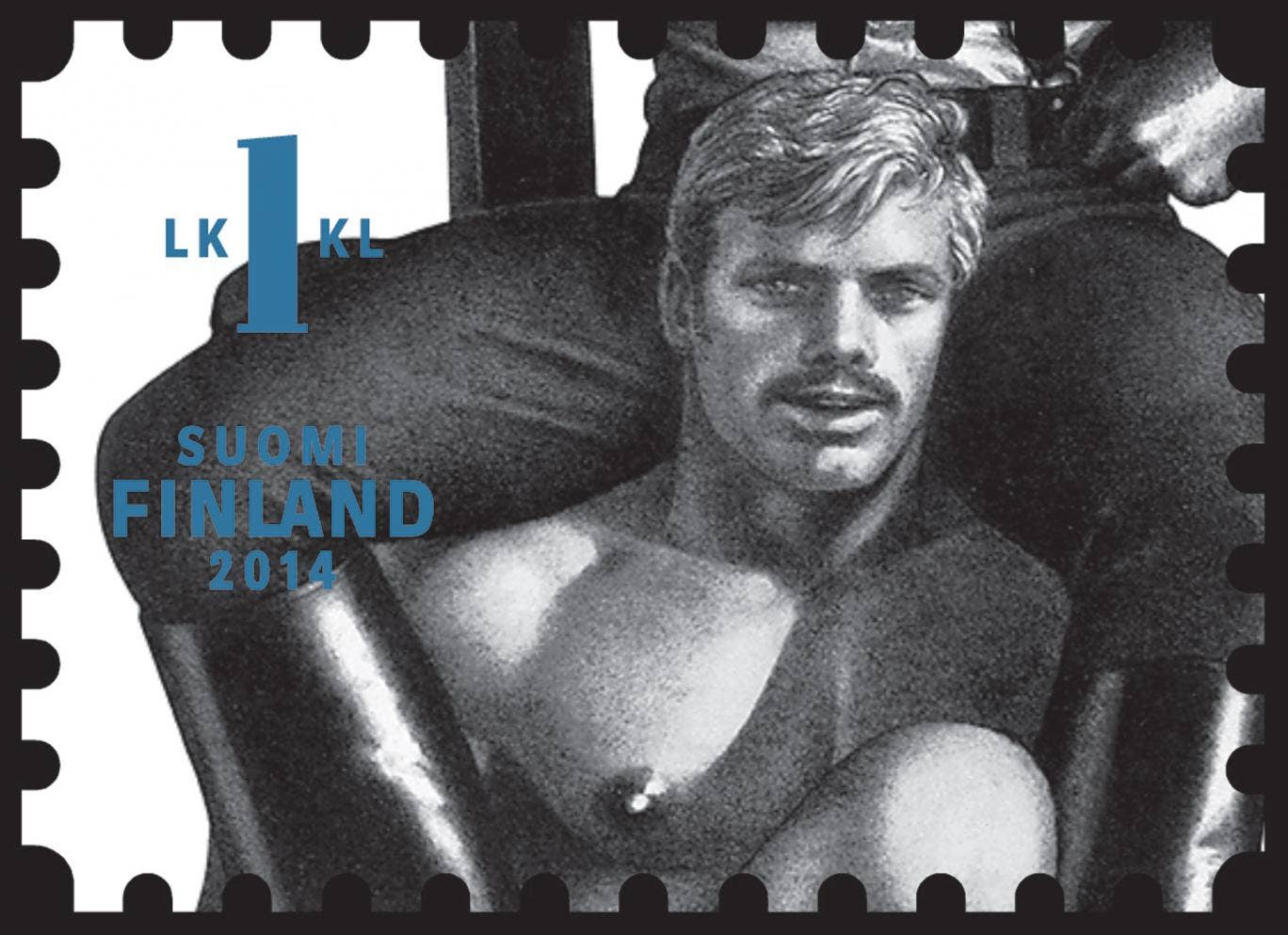 A close-up of Tom of Finland's new Finnish stamp
