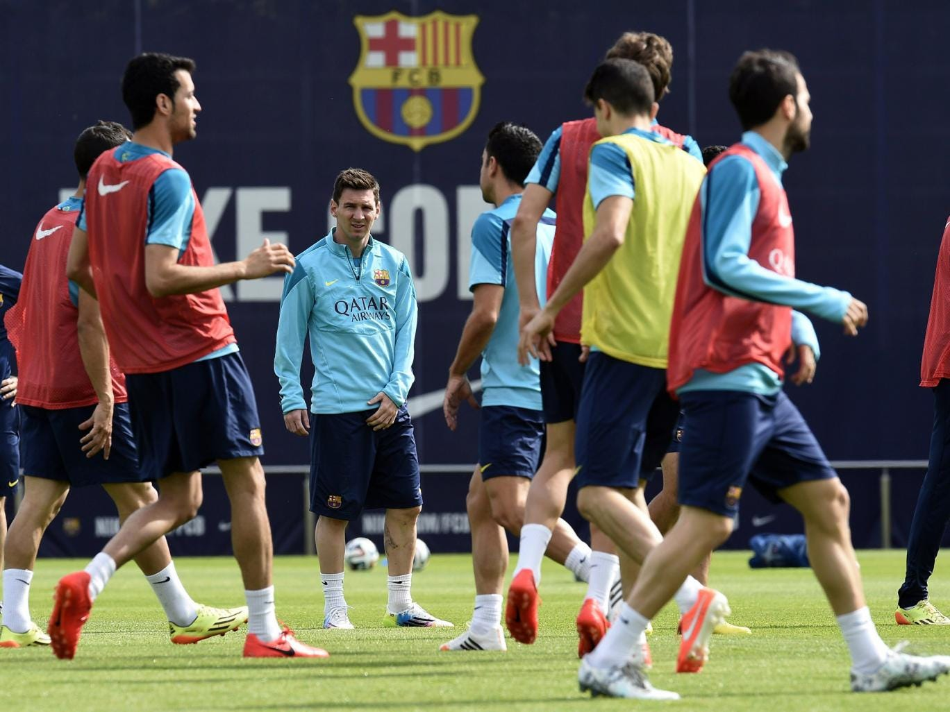 Messi trains with his Barcelona team-mates before the Copa del Rey final
