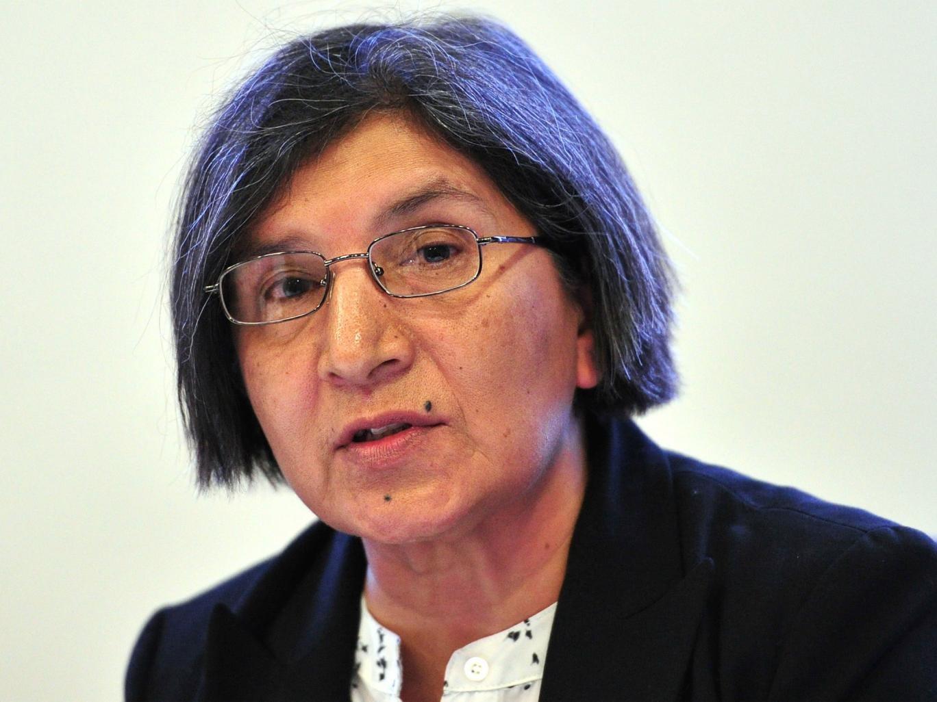 United Nations special rapporteur Rashida Manjoo addresses journalists in central London