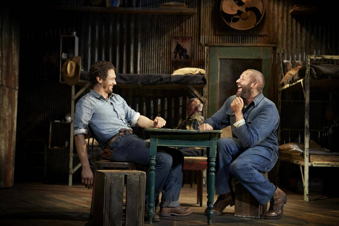 James Franco and Chris O'Dowd in Of Mice and Men on Broadway