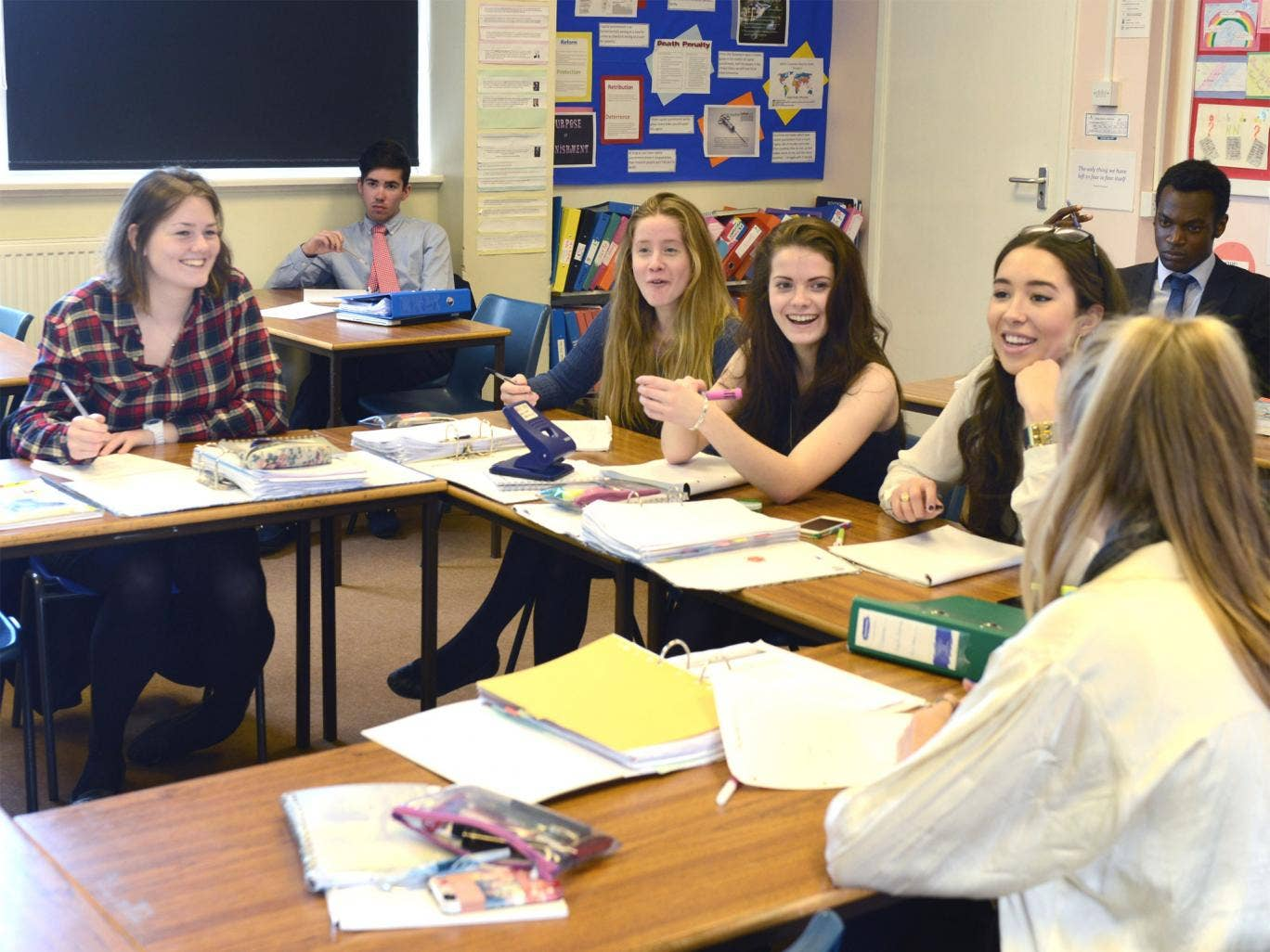 Ethical matters: pupils during a philosophy lesson