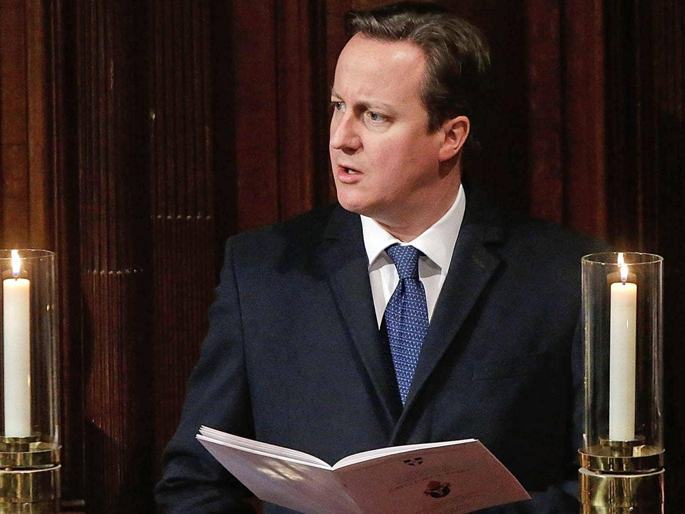 David Cameron sings a hymn during the enthronement service of The Most Rev Justin Welby as Archbishop of Canterbury, at Canterbury Cathedral last year