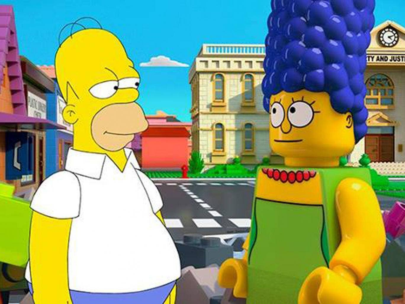 Homer meets Lego Marge in the 25th anniversary episode of The Simpsons, set to air on 4 May