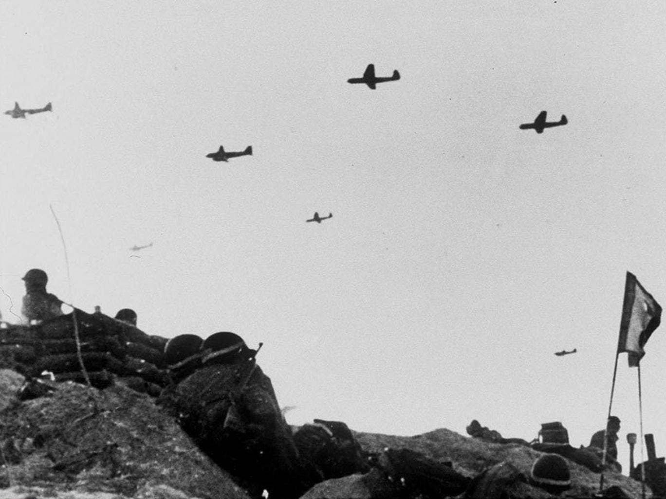 Allied aircraft fly over Normandy during the D-Day invasion in 1944
