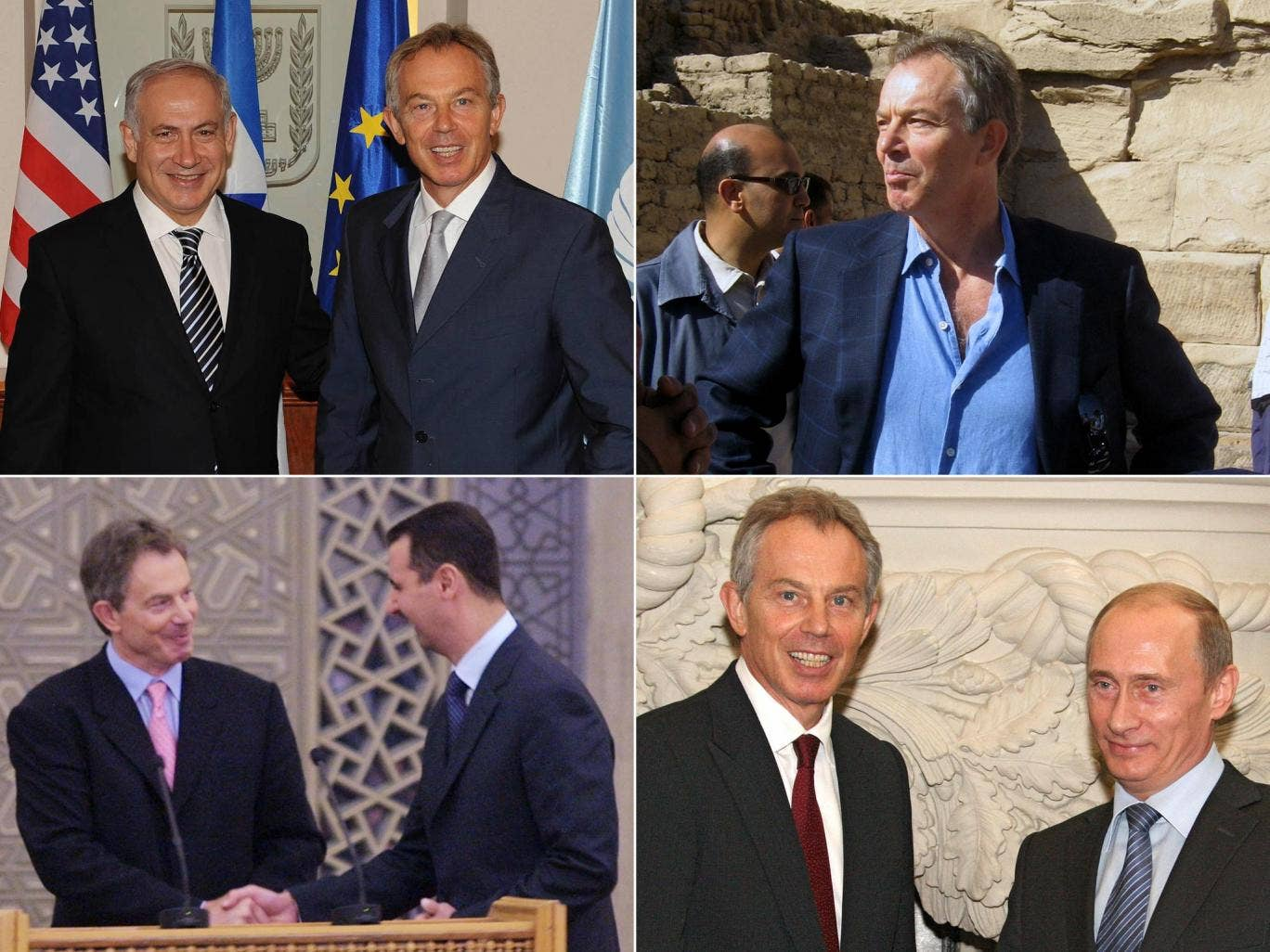 Clockwise from top left: Tony Blair with Benjamin Netanyahu in Jerusalem in 2009; at Karnak Temple in Luxor, Egypt in 2007; with Vladimir Putin in Moscow in 2008; with Bashar al-Assad in Damascus in 2001
