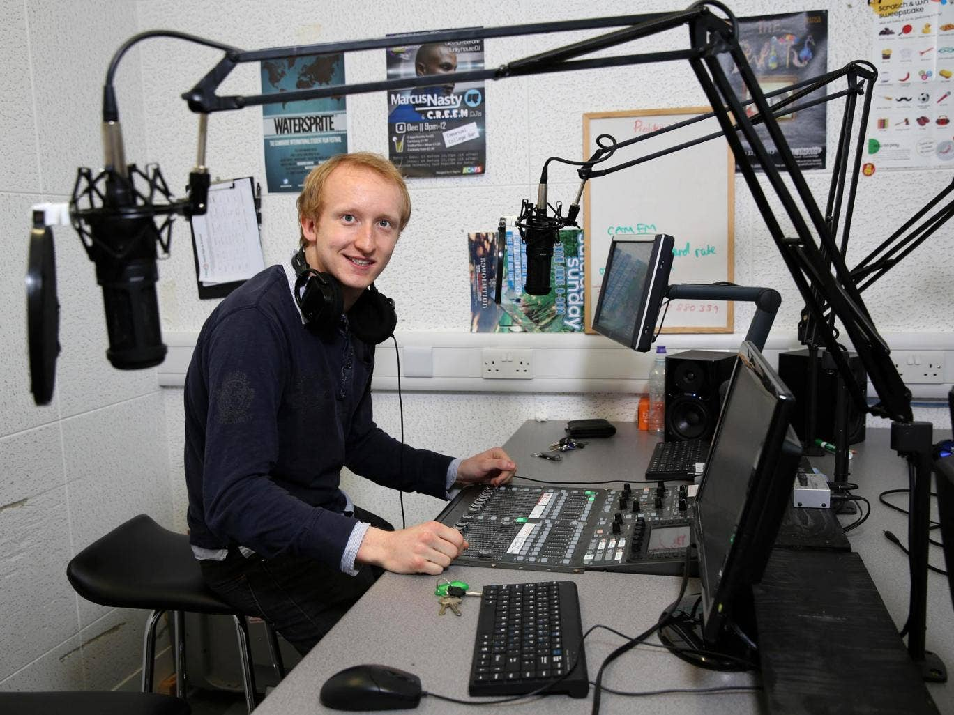 Phin Adams, aka 'Pop Man', in the CamFM studios