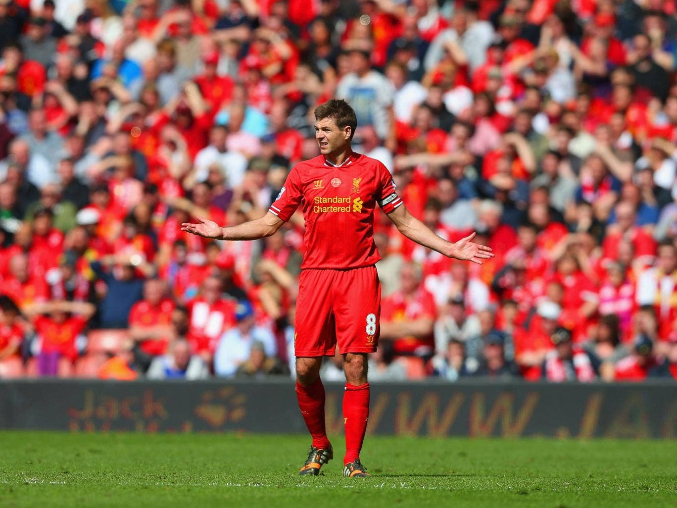 Steven Gerrard is left frustrated after Liverpool's defeat to title rivals Chelsea