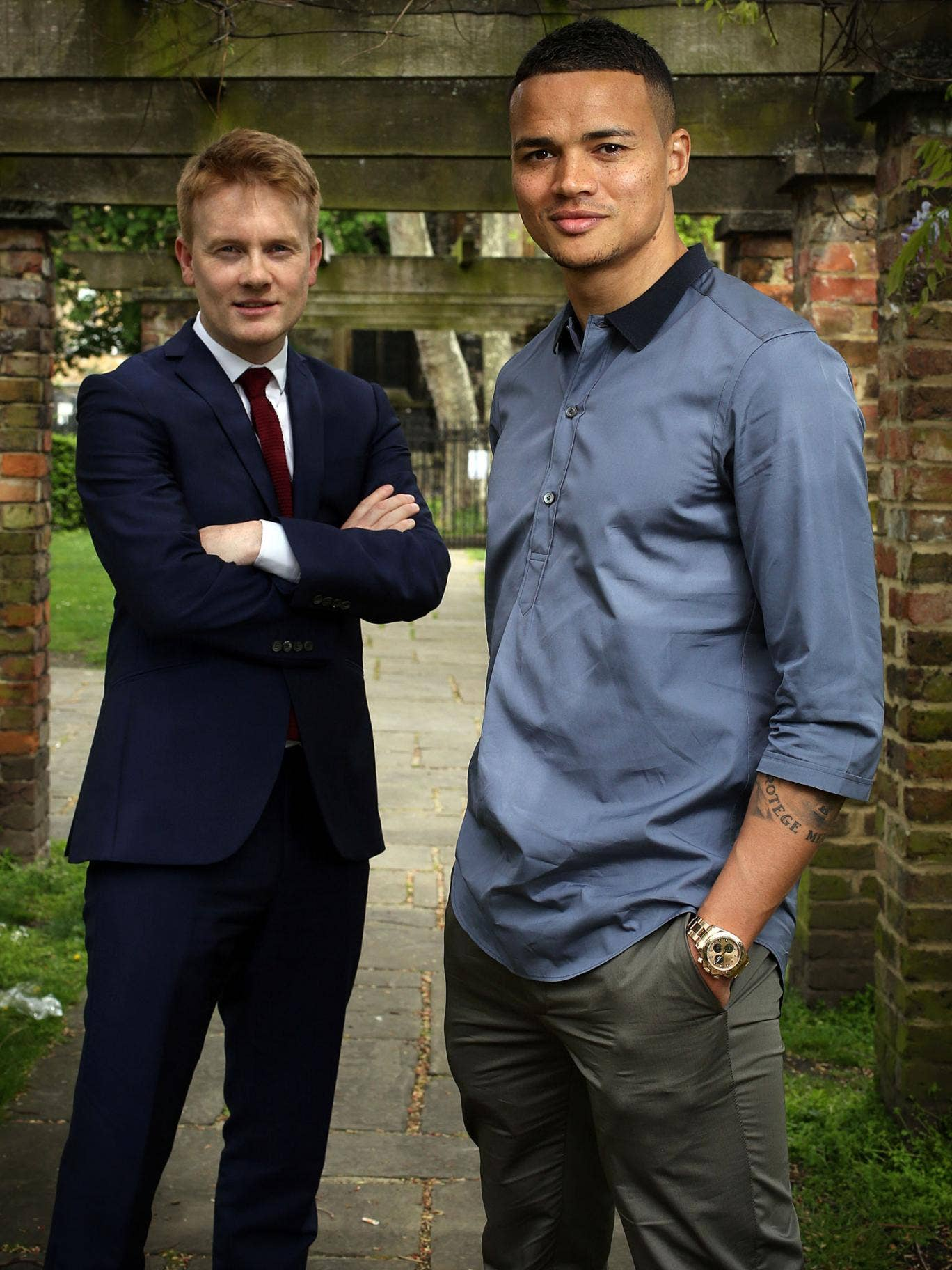 Jermaine Jenas, right, with Craig Anderson, left, is encouraging children to learn