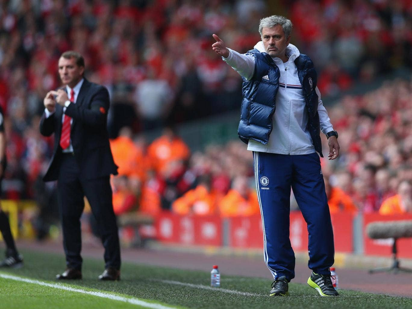 Jose Mourinho remonstrates from the sidelines during Chelsea's 2-0 victory over Liverpool