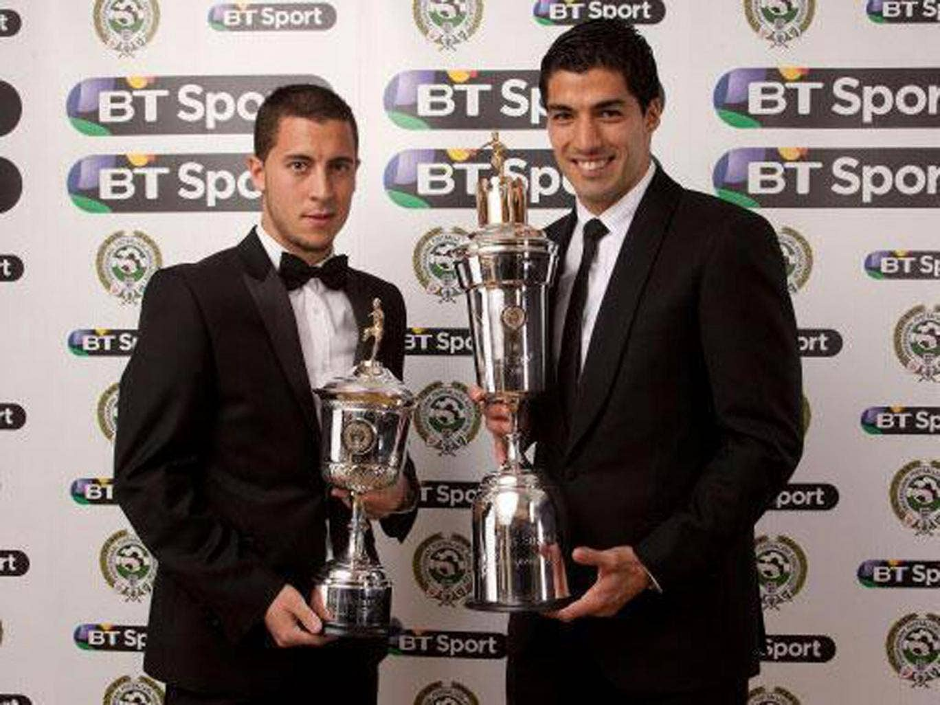 Eden Hazard and Luis Suarez celebrate their respective Young Player and Player of the Year awards at the PFA's ceremony on Sunday