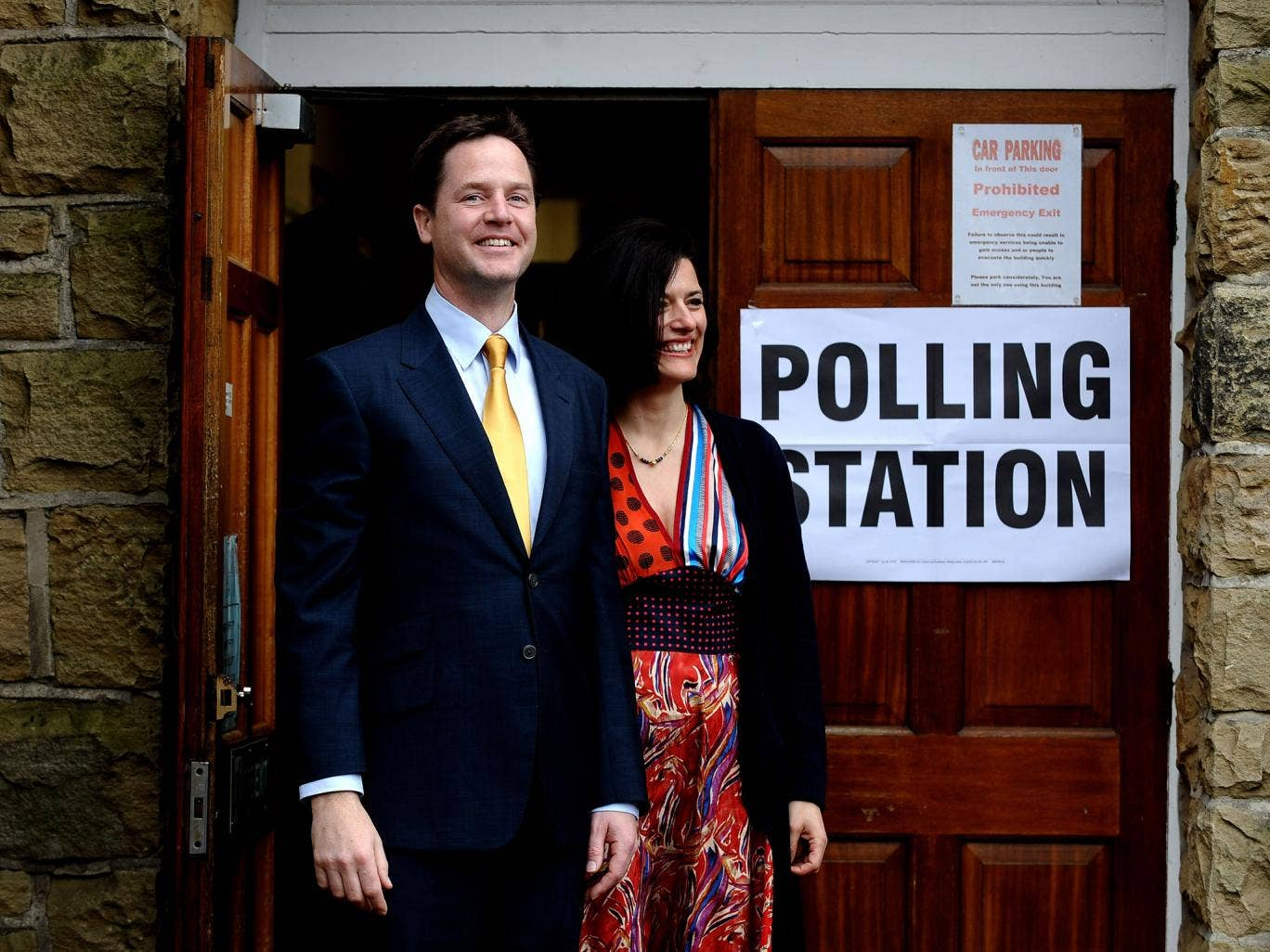 Nick Clegg casting his vote with his wife Miriam Gonzalez Durantez in 2010. The Liberal Democrats have slumped to their lowest rating since the last election.
