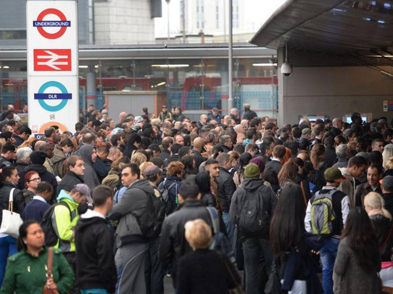 Commuters at Stratford Underground, Overground and DLR Station in east London, on the first day of a 48 hour strike by tube workers on the London Underground over ticket office closures.