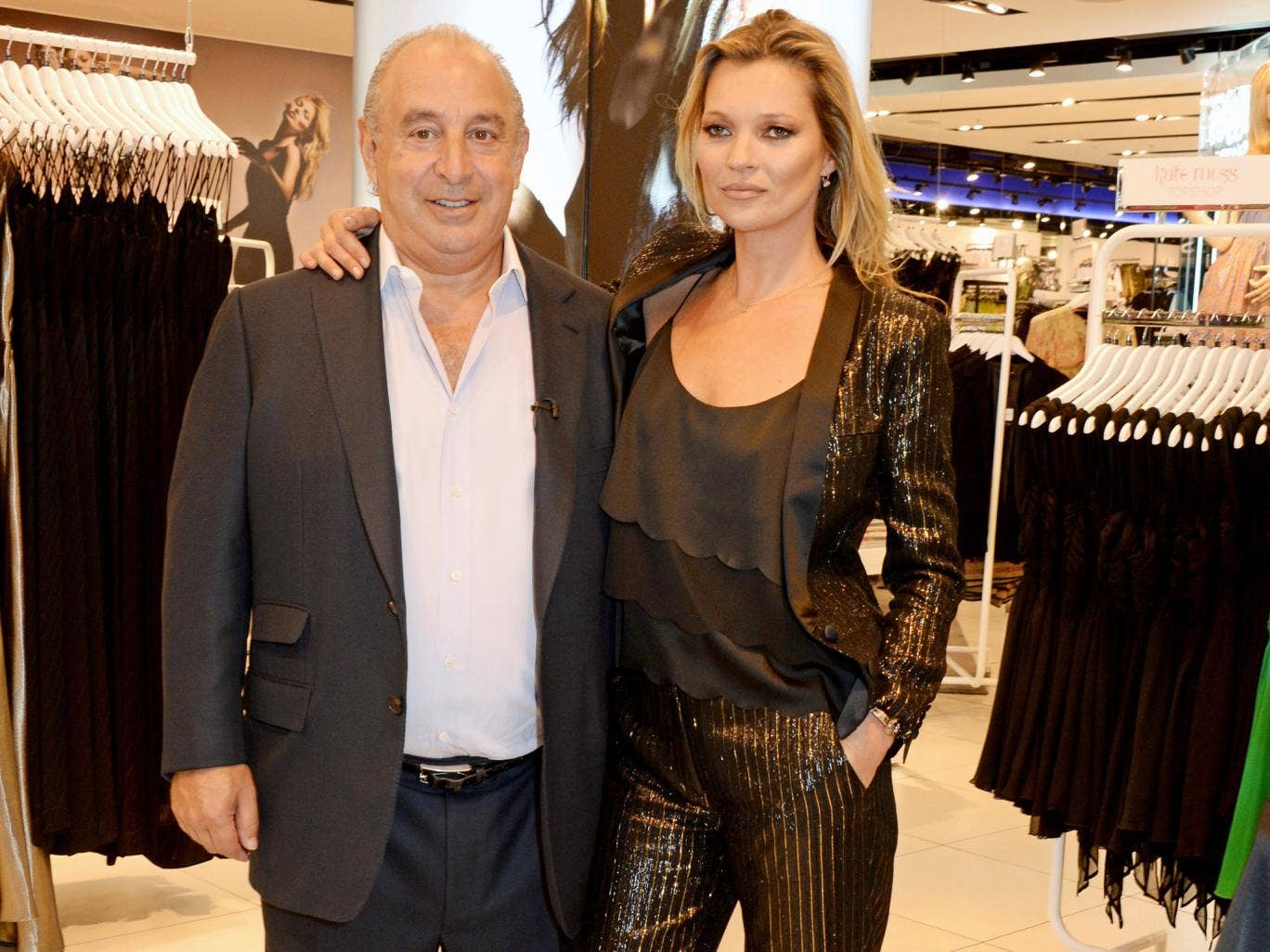 Topshop owner Sir Philip Green and Kate Moss