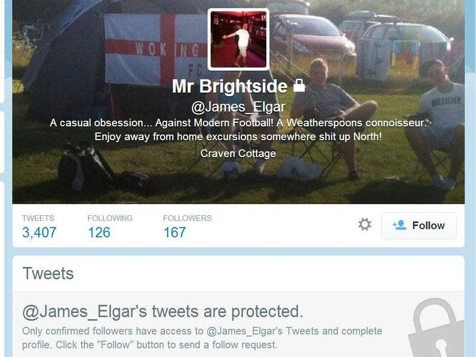 James Elgar's Twitter profile has been made private.