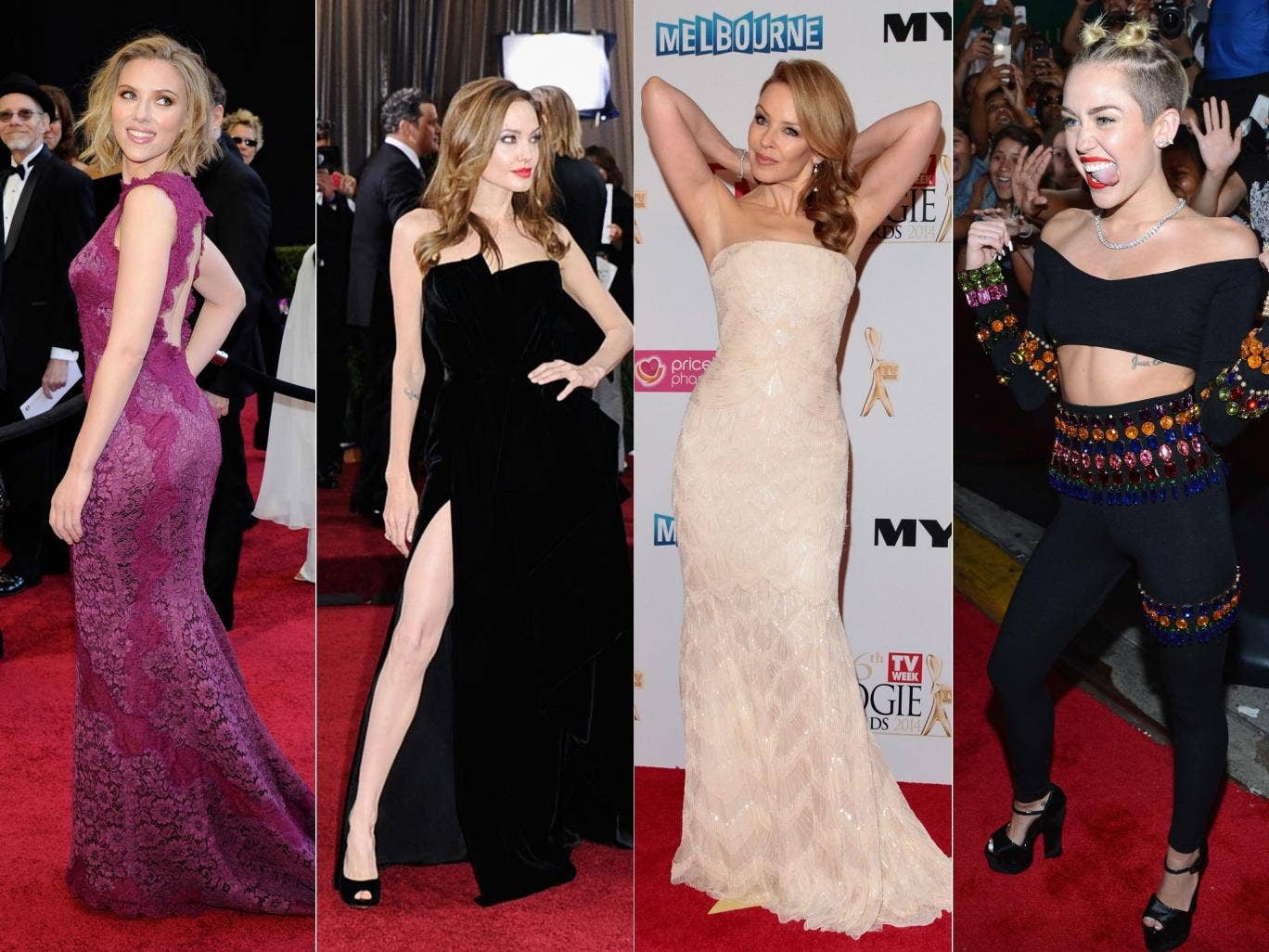 From left to right: backless: Scarlett Johansson; thigh high: Angelina Jolie; arms akimbo: Kylie Minogue; twerk out: Miley Cyrus