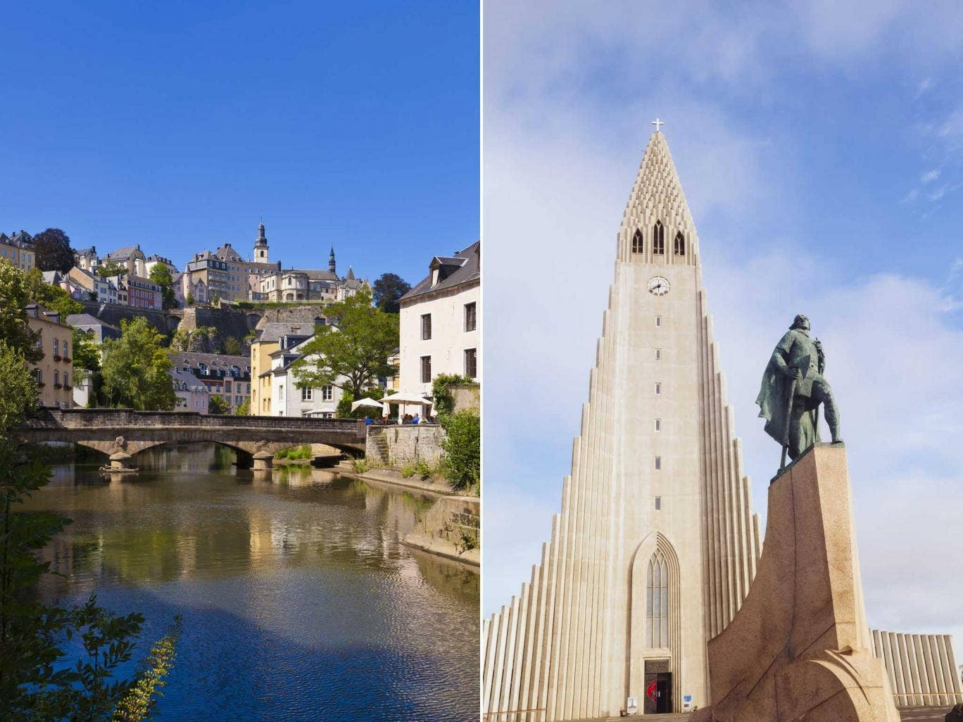 Which has a bigger population, Luxembourg or Iceland?
