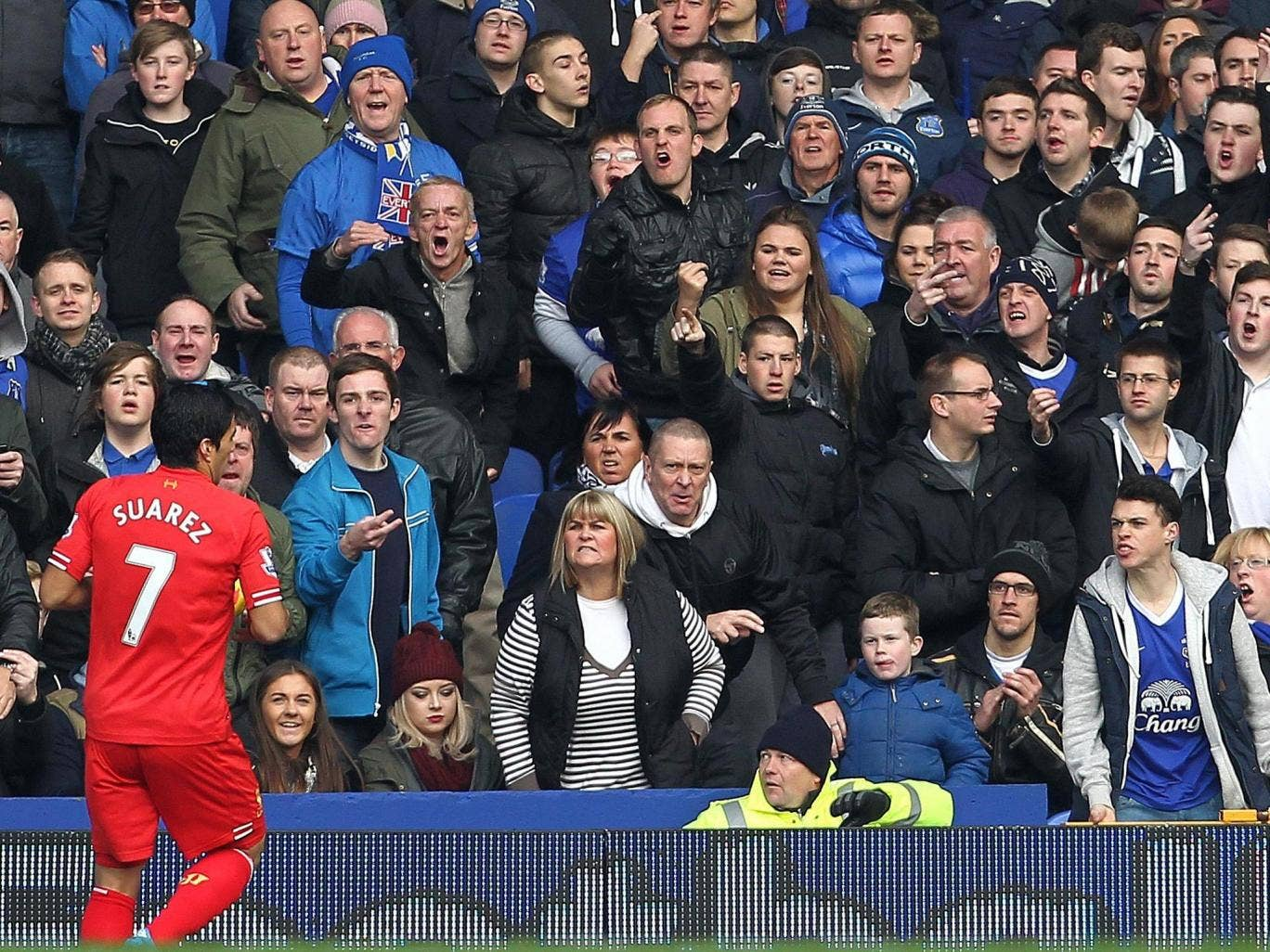Liverpool's Luis Suarez is given a warm reception by Everton supporters during a recent trip to Goodison Park