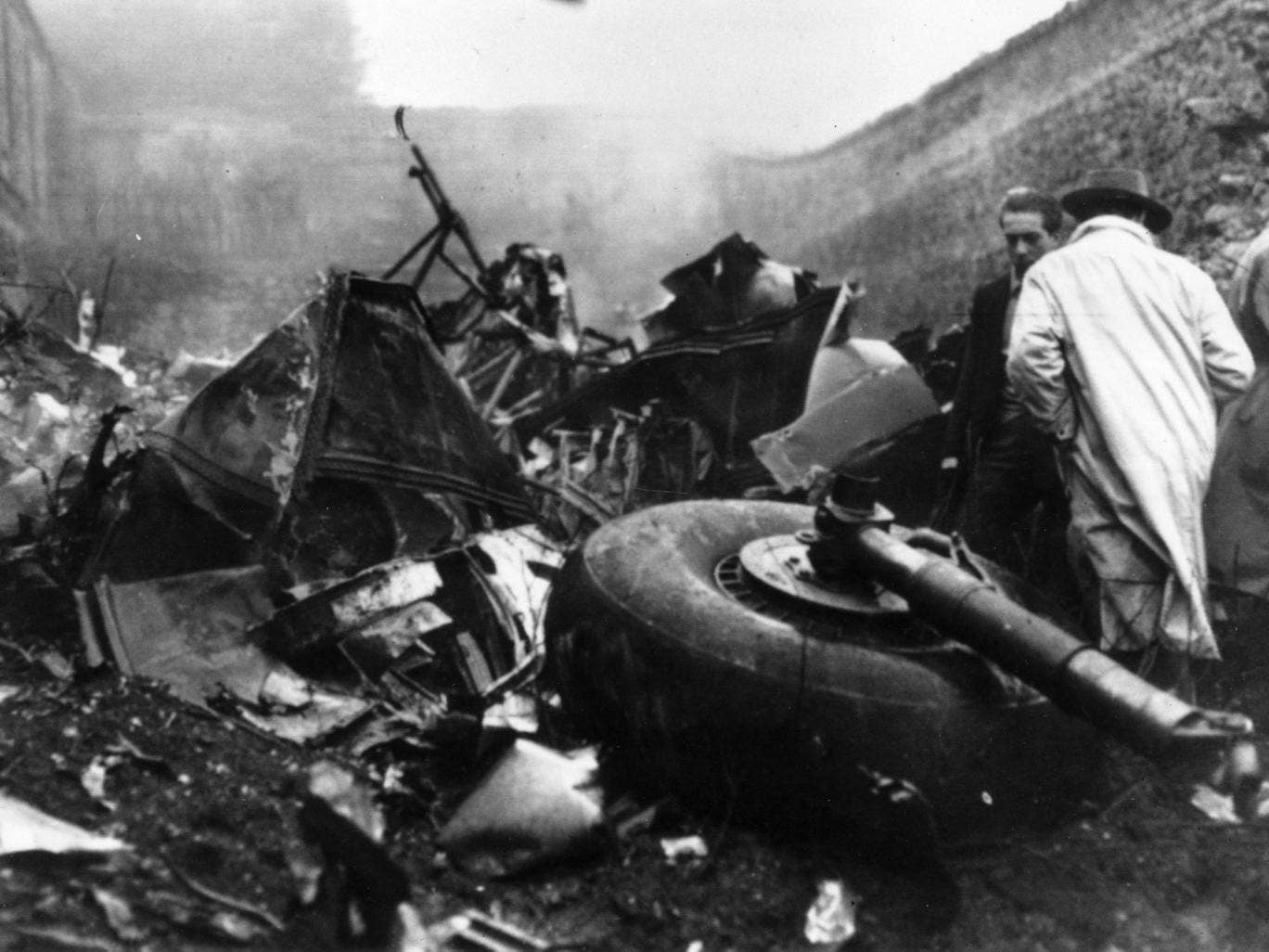 5th May 1949: The scene after the aircrash on the mountain of Superga, near the outskirts of Turin, which killed several members of Torino football club
