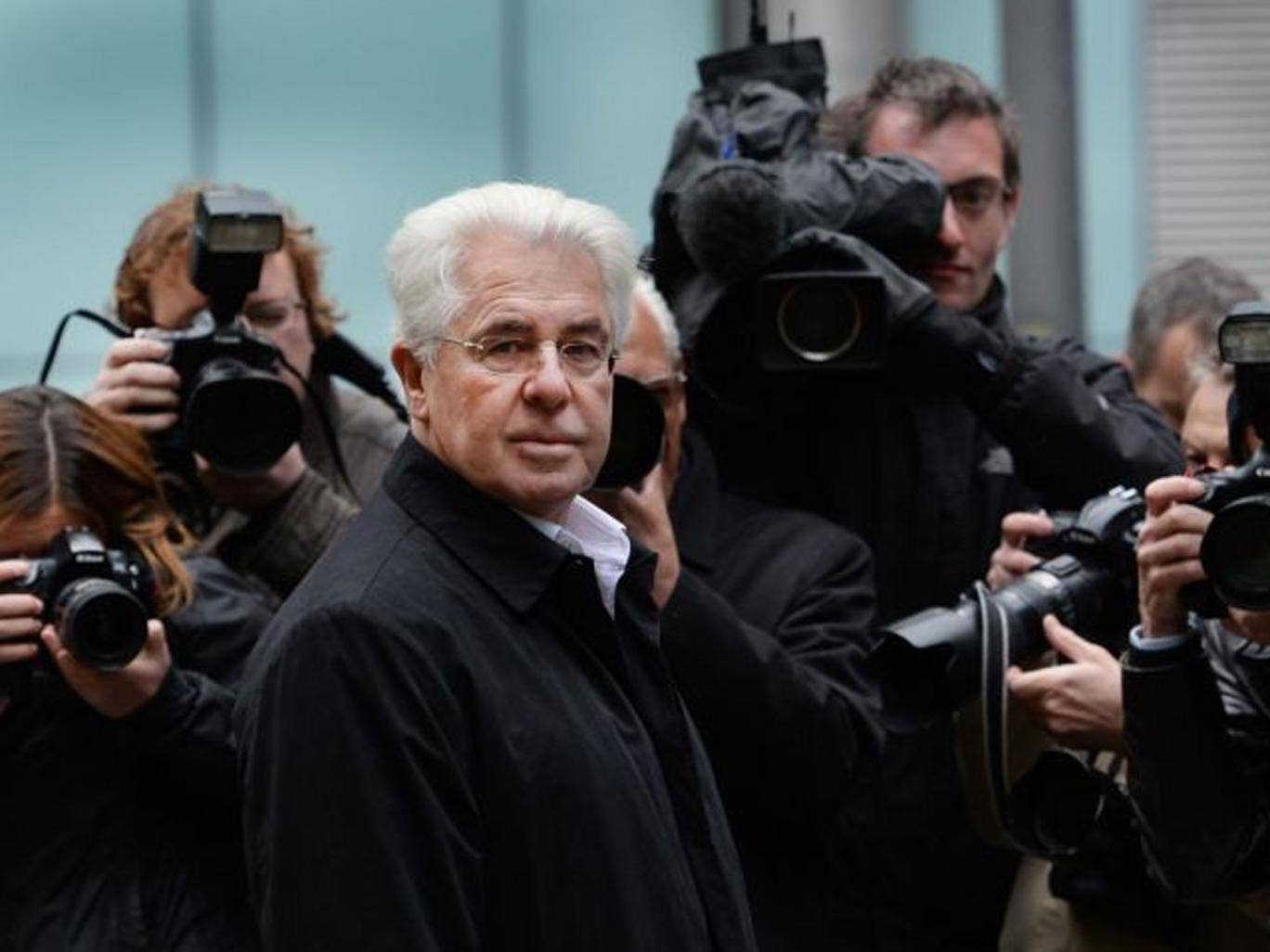 Max Clifford pictured outside Southwark Crown Court,in London,during his trial