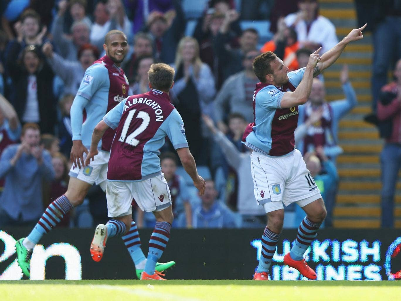 Andreas Weimann celebrates putting Villa in front